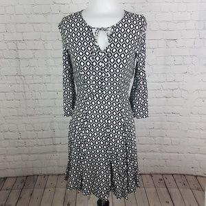 Black & White 70's Pattern Graphic Print Dress